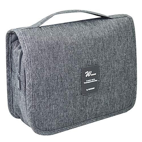 Hanging Toiletry Makeup Bag - Portable Large Capacity Travel Bag for Women and Men - Toiletry Kit, Cosmetic Bag - Light Grey