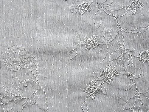 Floral Lurex bordado algodón gasa Tela Blanca – por metro: Amazon ...