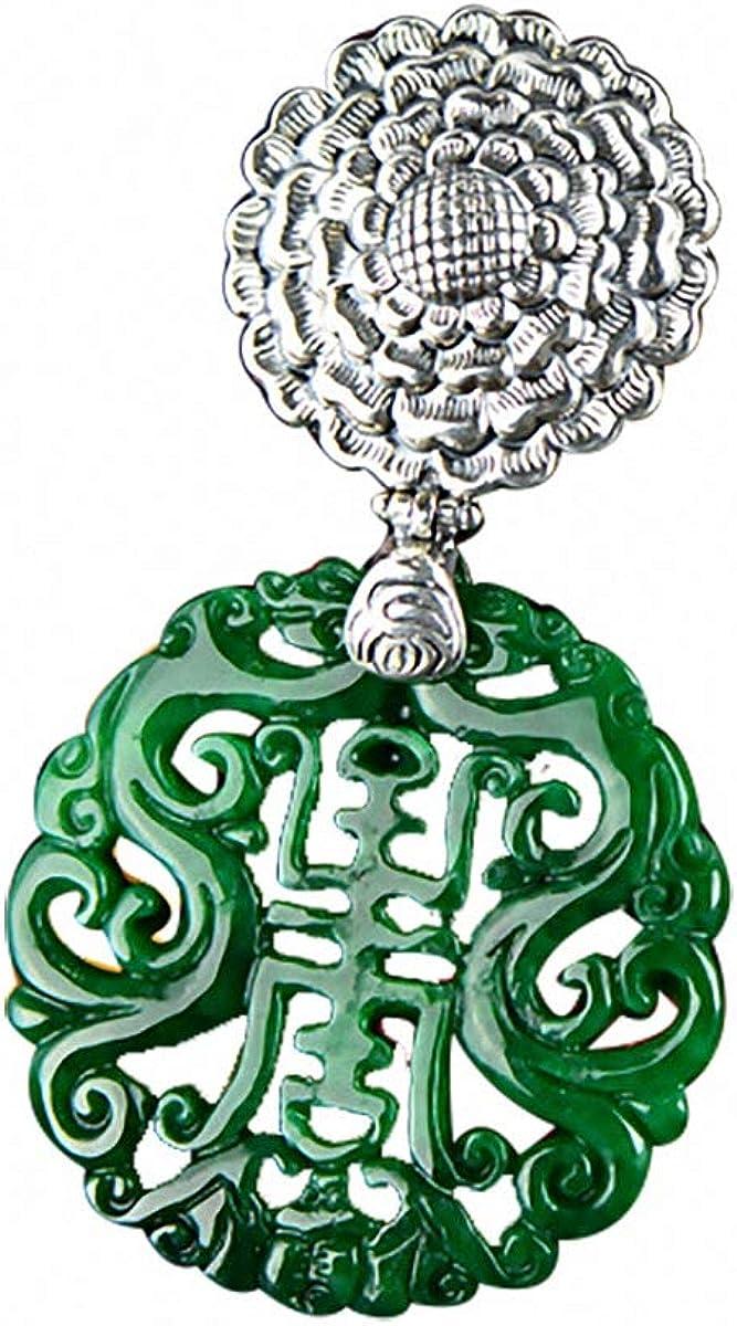 Colgante Lotus Fun S925 de plata de ley, retro, verde, jade colorido, llamativo y colorido, colgante de tallado personalizado, joyería de temperamento para mujeres y niñas