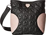 Betsey Johnson Women's Small Hobo with Heart Gusset Black Multi One Size
