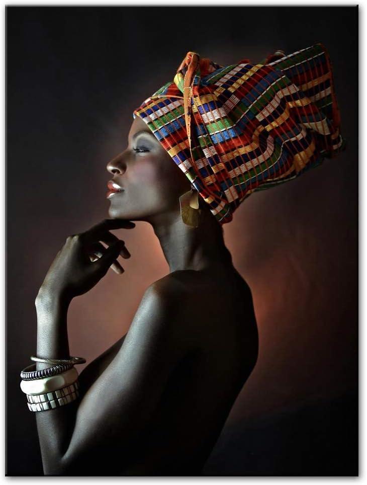liwendi Hermosas Mujeres Negras Pinturas Al Óleo De Impresión En Lienzo Retrato De Arte De La Pared Africana Imprime Carteles E Impresiones De Pared Cuadros 60 * 80 Cm