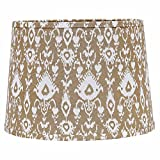 Home Collection by Raghu 0D480005 Cream & White Ikat Regular Clip Drum Lampshade, 10''