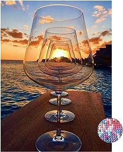 LIPHISFUN Diamond Painting Art Kit DIY Cross Stitch by Number Full Drill Round Kit DIY Arts Craft Wall Decor,Wine Glass Beach