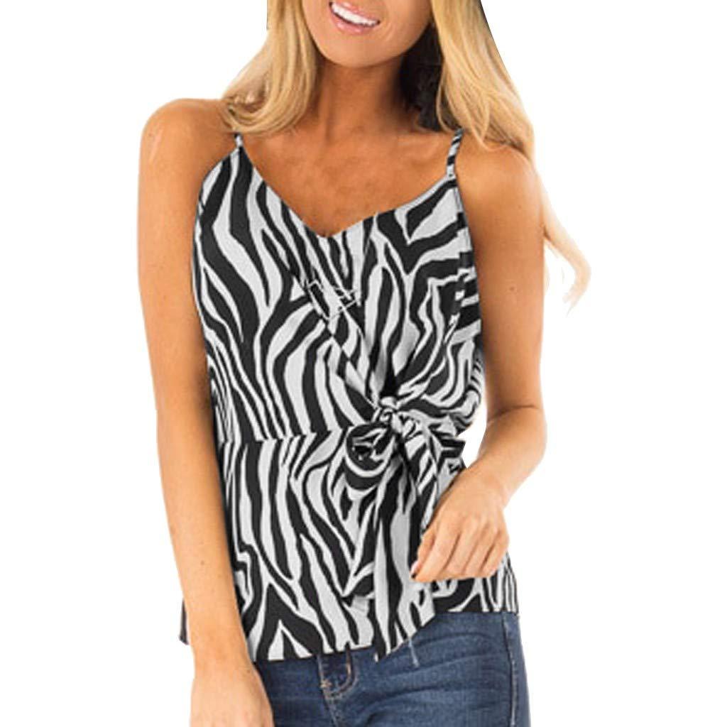 JQjian Popular Slim Tank Tops Women's Down V Neck Fashion Zebra Print Casual Loose Sleeveless Blouses (M, Black)