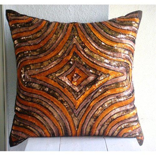 Designer Orange Decorative Pillow Cover, Sequins Illusion Gl