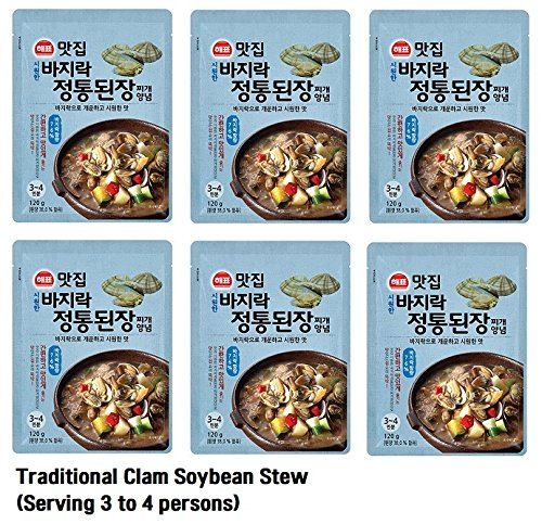 [SAJO] Korean Food Famous Restaurant Stew Sauce Series 120g (6pack) Serving 3 to 4 persons + SafeZone Mask (2pcs) (Traditional Clam Soybean Stew)