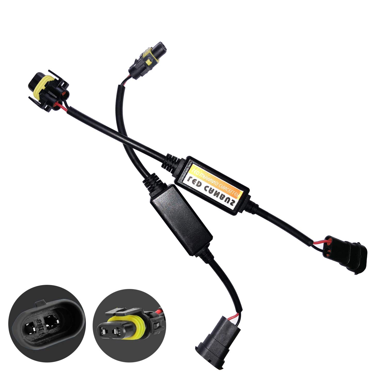H11 H8 H9 LED Conversion Kit Headlight Canbus Error Free Anti Flickering Resistor Decoder Computer Warning Canceller Capacitor Harness Relay Resistor Adapter Plug & Play