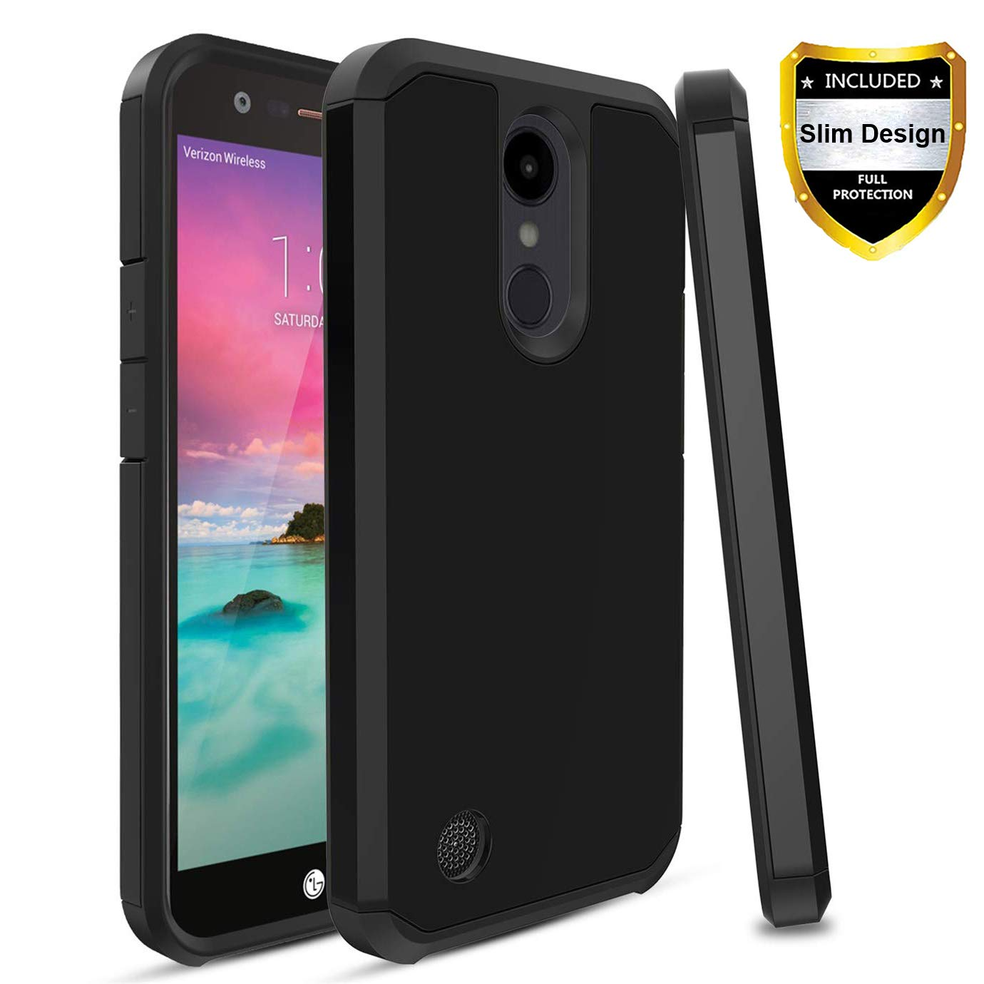 LG K20 Plus Case/LG K20 V Case/LG K20 Case/LG Harmony Case/LG Grace Case Hybrid Hard Shockproof Slim Fit Heavy Duty Protective Cover - Black