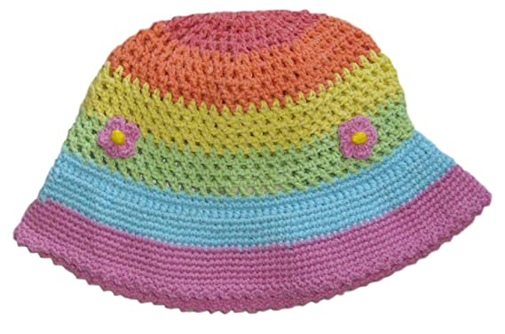 c1ef8586e0a Amazon.com  snuggleheads Girls  Hand-Crocheted Petite Blossom Bucket Hat 2-4  Year Pastel Rainbow  Clothing