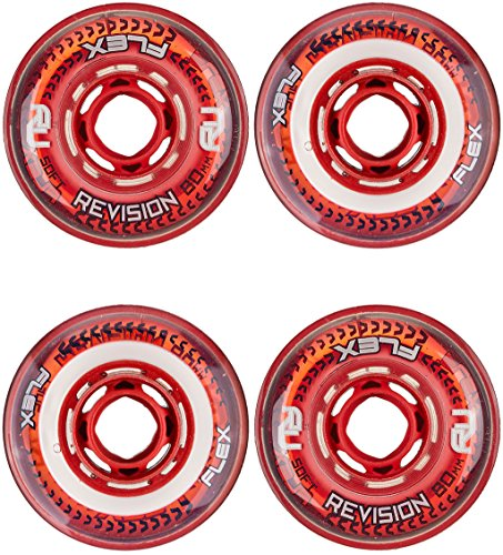 Revision Wheels Inline Roller Hockey Flex Soft Red/White 76mm 76A 4-Pack ()