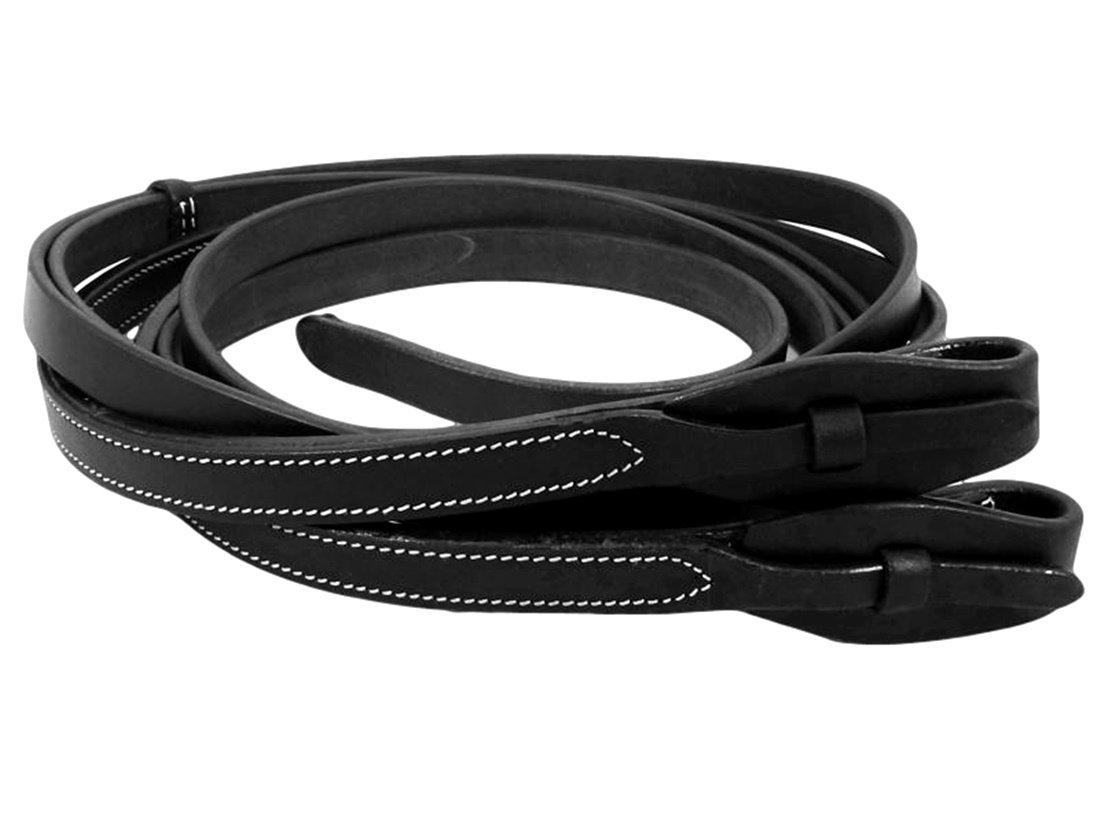 Rênes western - fermeture rapide/surpiqué - noir - 220 cm Thor Equine