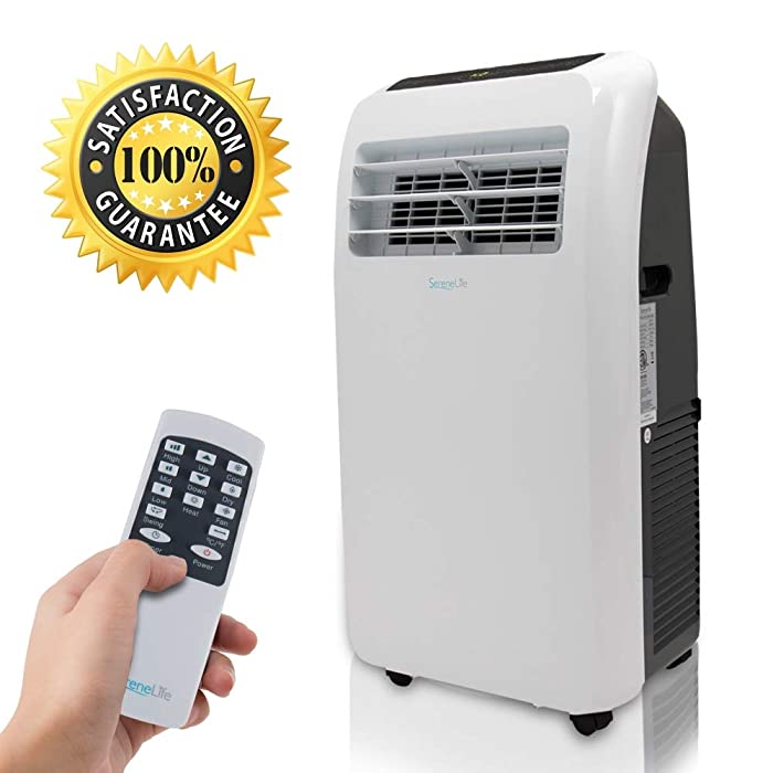 SereneLife 12,000 BTU Portable Air Conditioner + 12,000 BTU Heater, 4-in-1 AC Unit with Built-in Dehumidifier, Fan Modes, Remote Control, Complete Window Exhaust Kit for Rooms Up to 450 Sq. Ft