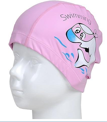 Kids Girl Boy Swimming Caps Waterproof Elastic Swim Cap Protect Ears Pool Hat 1P