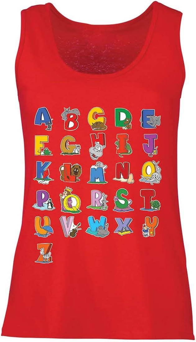 lepni.me Camisetas sin Mangas para Mujer Alfabeto Inglés, Diseño de Canciones ABC, Aprendizaje de Letras, Regreso a la Escuela o Regalos de Graduación