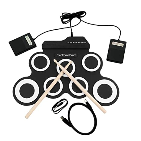 Laurelmartina Batería electrónica USB Drum G3002 Drum Kit Drum Set Instrumento de percusión para niños Engrosada