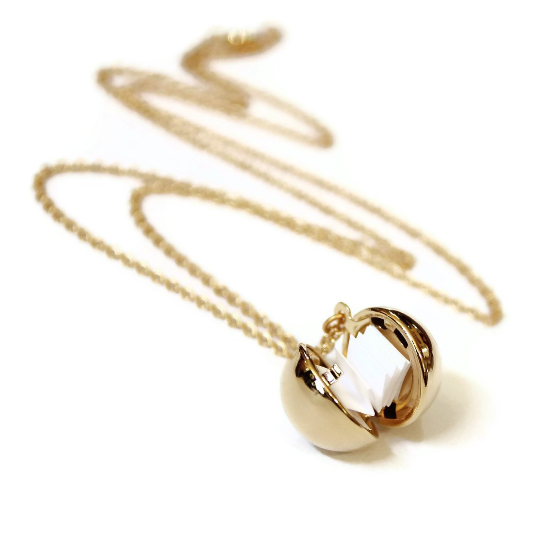 Dearest Mine Gold-tone Secret Message Ball Locket Necklace