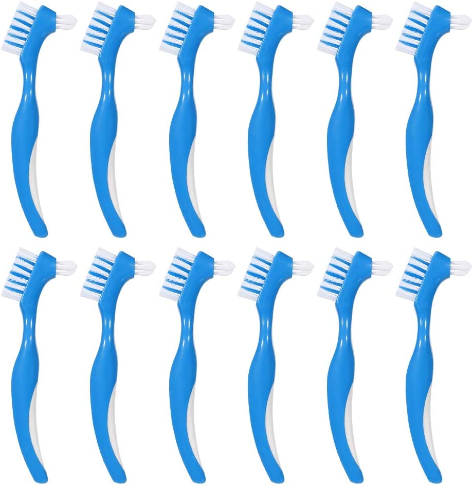 Baring 12 Pack Denture Brush Hard Denture Cleaning Brush False Teeth Brush Toothbrush: Health & Personal Care