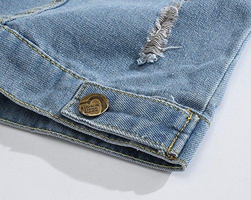 Veste Sans Jean Vest Classique Revers Clair Casual Slim En Denim Manches Homme Gilet Retro De Blouson Bleu qX05BB