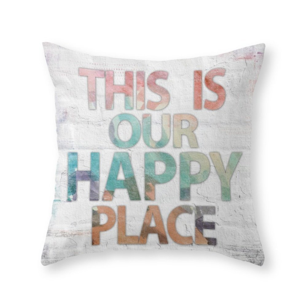 society6 This Is Our Happy Place – 水カラーアンティーク調背景WordアートThrow枕 Cover (18