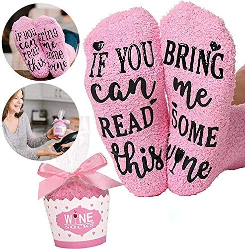 """""""If You Can Read This Bring Me Some Wine"""" Funny Socks with Cupcake Gift..."""