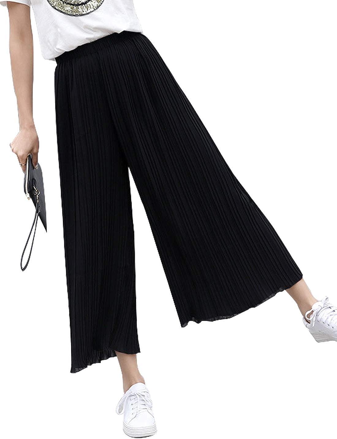 Pantalones Palazzo Informales De Cintura Alta Plisados Pierna Ancha Pantalones De Tobillo De Mujer Pantalones