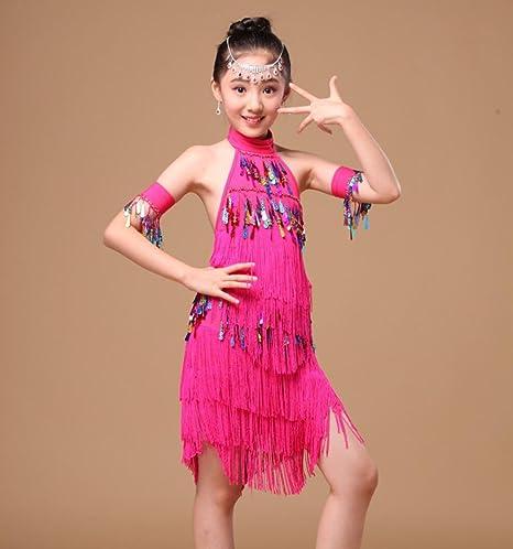 Trajes de Baile Latino para niños Borlas de Mujer Falda de Baile ...