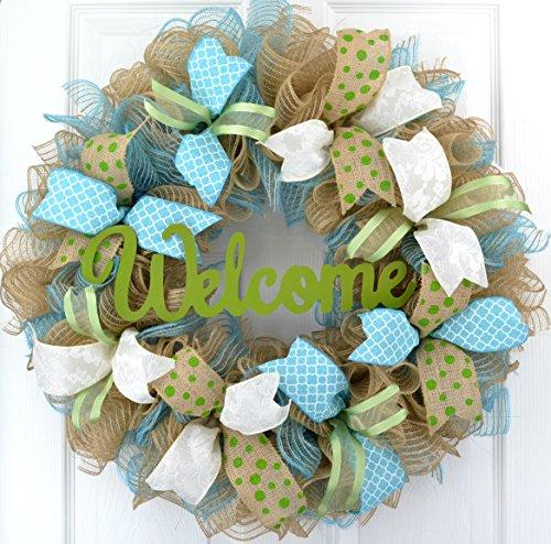 Welcome Spring Deco Mesh Door Wreath; Turquoise Moss Green I