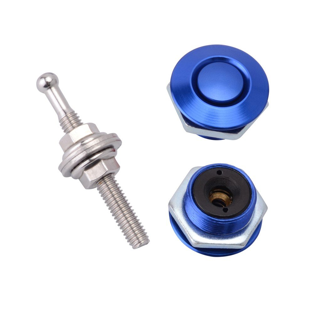 STETION Quick Release Latch License plate Lock Clip 1.25'' Diameter Aluminum Alloy Car Hood Pins Lock Clip Kit for Bumper Hood License plate (Blue)