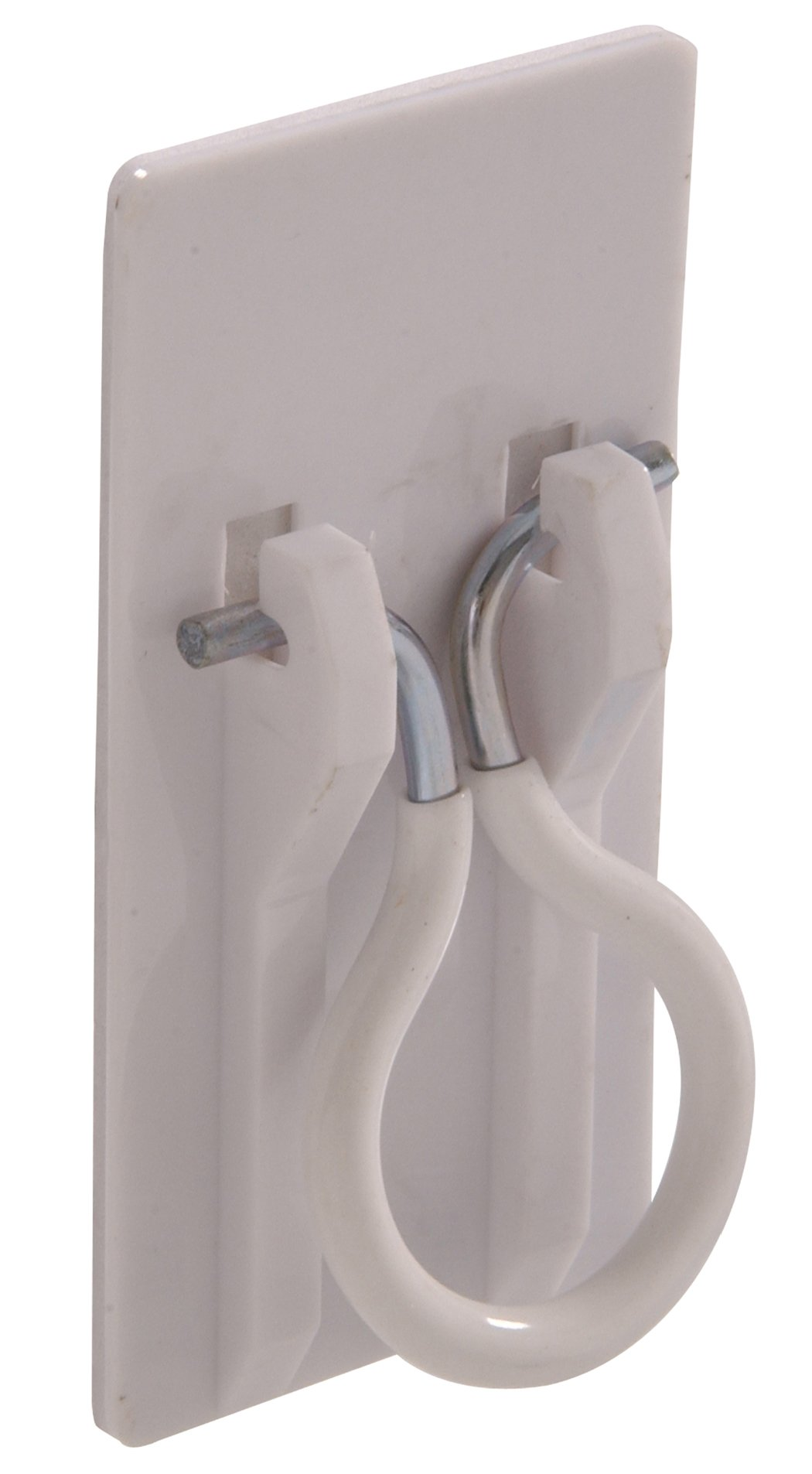 The Hillman Group 852988 Plastic Broom Holder- White - Adhesive Backed 1-Pack by The Hillman Group (Image #1)