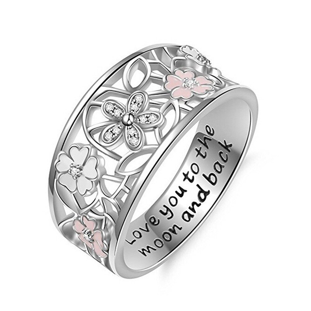 HUAMING Fashion Creative Drilling Cherry Blossoms Ring Wedding Ring Birthday Gift Noble Luxury Ring Valentine's Day Present (Silver, 9)