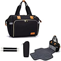LIMOS Diaper Mummy Bag Tote with Bottle Case and Changing Pad, Dikaslon Large Travel Diaper Tote for Mom and Dad…