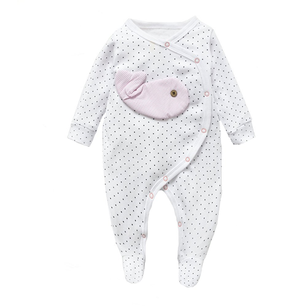Fairy Baby Baby Girls Boys Footed Cotton Pajamas Animal Sleepsuit(0-18 Month)