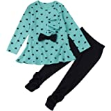 Little Girl's Cute Heart Pattern 2 Pieces Outfit-RQWEIN Kids Christmas Outfits T-Shirt Top Tunic Long Pants Clothes Set