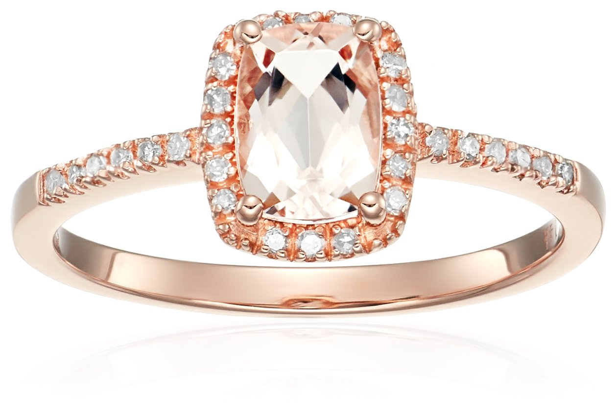 14k Rose Gold Cushion-cut Morganite and Diamond Halo Engagement Ring (1/10 cttw, H-I Color, I1-I2 Clarity), Size 7 by Amazon Collection