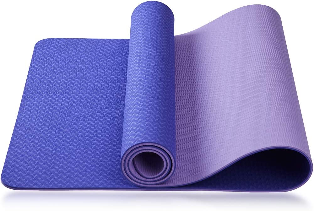 Asvin TPE Yoga Mat 1/4 Inch Thick for Women, High Density Fitness Exercise Mat, Non-Slip, Anti-Tear Workout Mat with Strap for Home, Gym, Pilates and Floor Exercises, 68