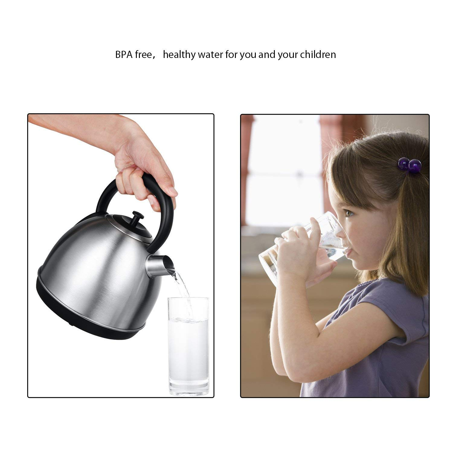Auto Shut-Off Silver BPA-Free Electric Kettle AICOK 1.7 Litre Retro Dome Kettle 304 Premium Stainless Steel Kettle 3000W Fast Boiling Cordless Kettle with Wide Spout for Easy Filling