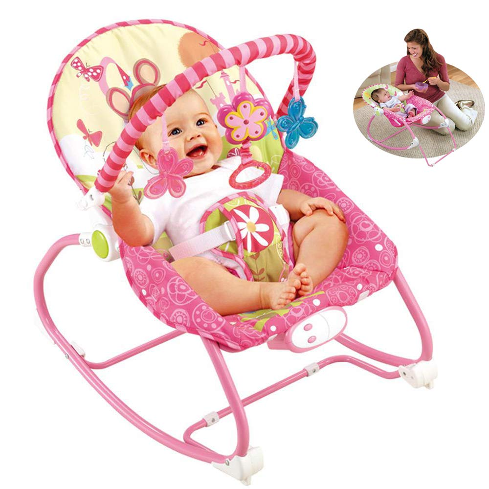 JFMBJS New-Born Bouncer, Baby Rocker Chair with Activity Centre with Removable Toy Bar and Musical Melodies Calming Vibrations by JFMBJS