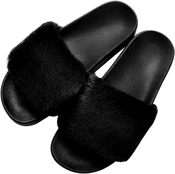WOMENS LADIES BLACK INDOOR//OUTDOOR FLUFFY FAUX FUR TRIM MULE SLIPPERS SIZES 3-8