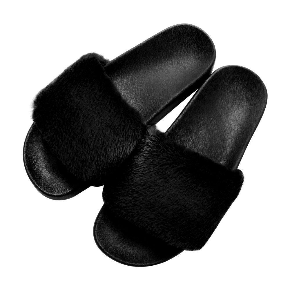 COFACE Damen Hausschuh Weiche Flache Sandalen Flauschige mit Suuml;szlig;er Pluuml;sch Pantoffel Outdoor/Indoor in 5 Farben  42 EU|Schwarz
