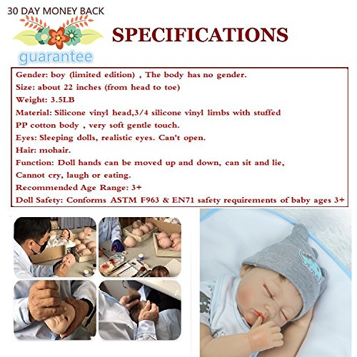 Amazon.com: NPK Looks Real Sleeping Toddler Reborn Baby Doll Gray ...