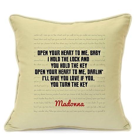 Madonna letras de canciones citas algodón funda para cojín para sofá 18 pulgadas 45 cm aniversario