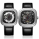 BUREI Mens Fashion Automatic Watches with Mechanical Square Dial Sapphire Crystal Black Calfskin Leather
