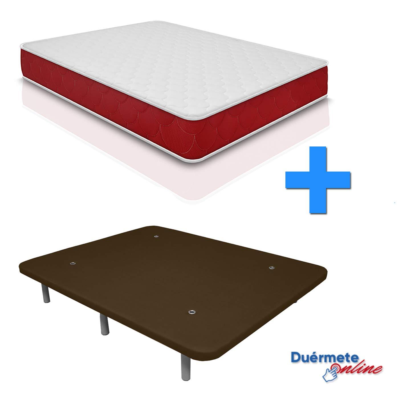 Base Tapizada 3D Reforzada 5 Barras de Refuerzo con 6 Patas 90x200 Duermete Colch/ón Viscoel/ástico Lite Reversible Chocolate