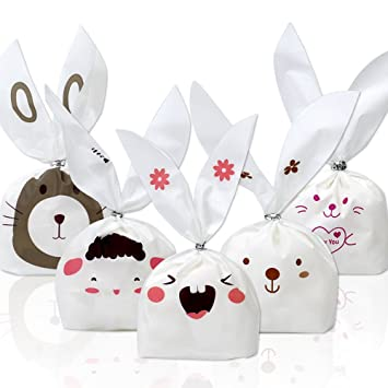 Tomnk 100pcs party bunny bags candy bags gift wrap bags treat bags tomnk 100pcs party bunny bags candy bags gift wrap bags treat bags for party favors supplies negle Images