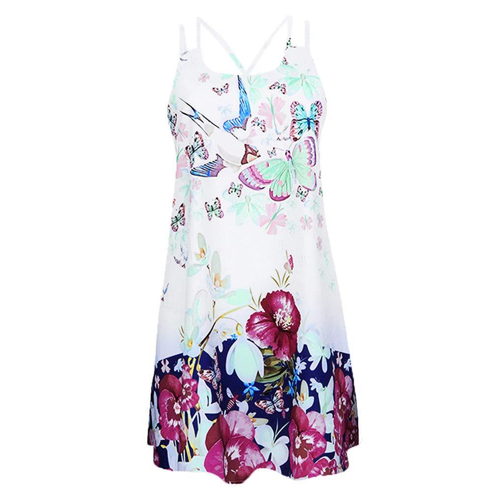 Hotkey Dress Vintage Boho Women Summer Sleeveless Beach Printed Short Mini Dress A-57