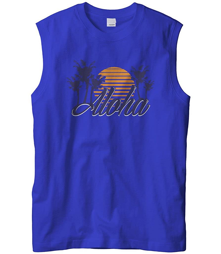 Cybertela Mens Aloha Hawaiian Hi Sunset Palm Tree Sleeveless T-Shirt