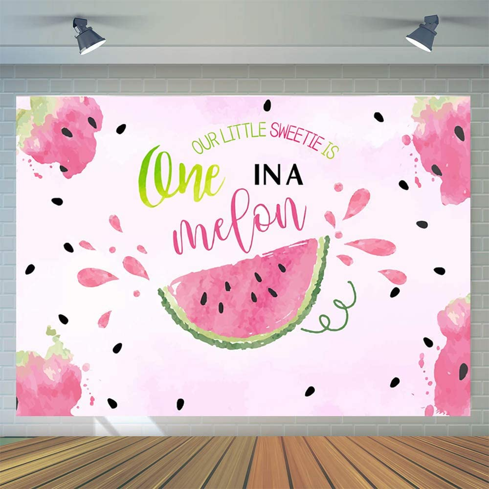CYLYH 6x4ft Watermelon Theme Birthday Backdrop One in a Melon 1st Birthday Background Watercolor Summer Fruit Photography Background for Girls Pictures Cake Table Decor