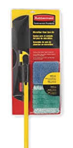 "Rubbermaid Wet/Dry Floor Kit, Microfiber, 55""L, Black;Yellow"