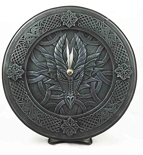 Gothic Dragon Gaze Round Wall Clock Resin Figurine Handpainted 11.5