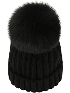 24aad77a7 FURTALK Womens Girls Winter Fur Hat Real Large Raccoon Fur Pom Pom ...